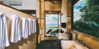 Master bathroom and open-air shower