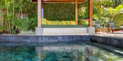 Balinese stone tile plunge pool and pavilion